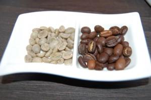 Kaffeebohnen vor und nach der Röstung
